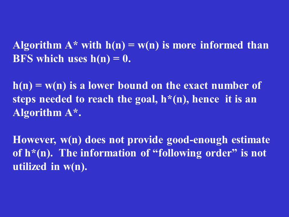 Algorithm A* with h(n) = w(n) is more informed than BFS which uses h(n) = 0. h(n) = w(n) is a lower bound on the exact number of steps needed to reach