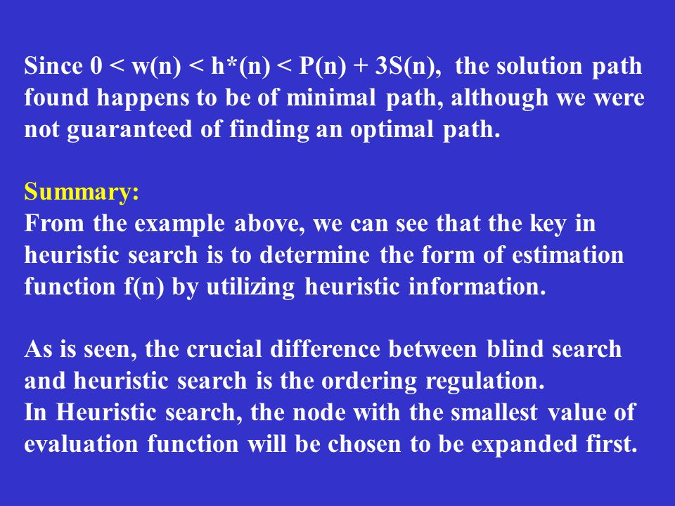 Since 0 < w(n) < h*(n) < P(n) + 3S(n), the solution path found happens to be of minimal path, although we were not guaranteed of finding an optimal pa