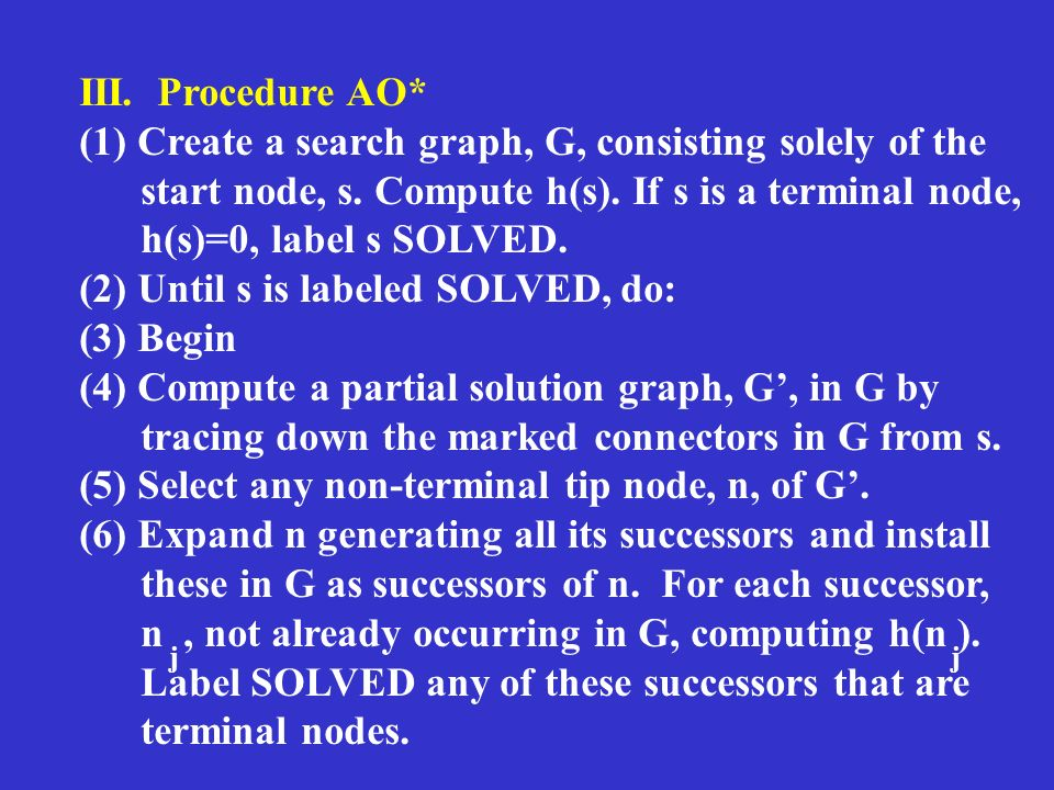 III. Procedure AO* (1) Create a search graph, G, consisting solely of the start node, s. Compute h(s). If s is a terminal node, h(s)=0, label s SOLVED