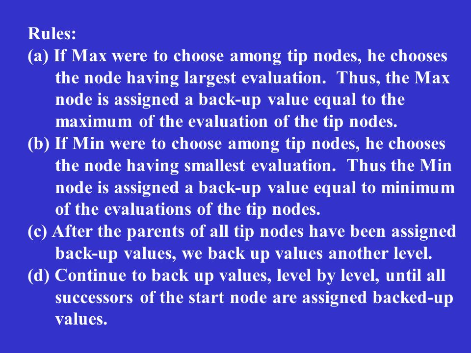 Rules: (a) If Max were to choose among tip nodes, he chooses the node having largest evaluation. Thus, the Max node is assigned a back-up value equal