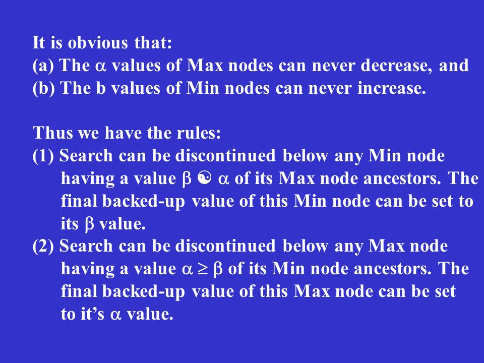 It is obvious that: (a) The values of Max nodes can never decrease, and (b) The b values of Min nodes can never increase.