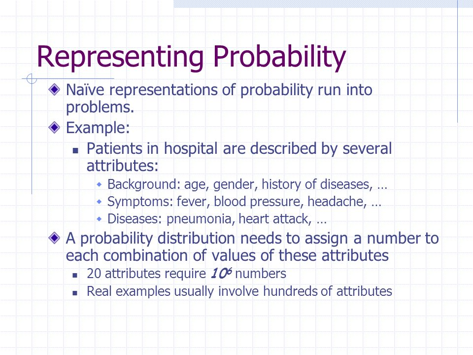 Representing Probability Naïve representations of probability run into problems.