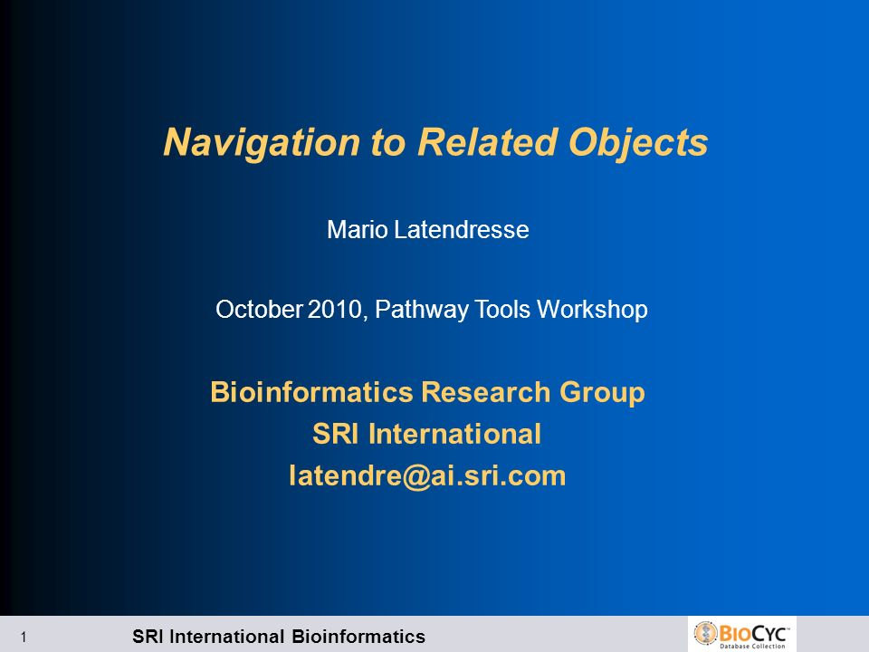 SRI International Bioinformatics 1 Navigation to Related Objects Bioinformatics Research Group SRI International latendre@ai.sri.com Mario Latendresse