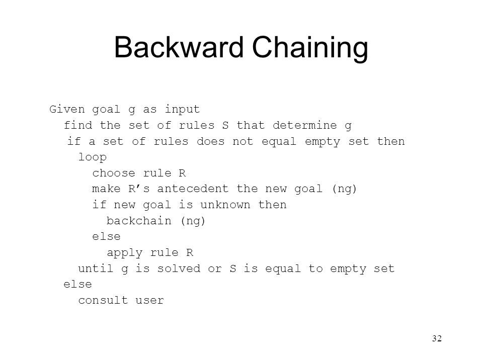 32 Backward Chaining Given goal g as input find the set of rules S that determine g if a set of rules does not equal empty set then loop choose rule R