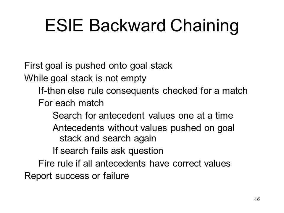 46 ESIE Backward Chaining First goal is pushed onto goal stack While goal stack is not empty If-then else rule consequents checked for a match For eac