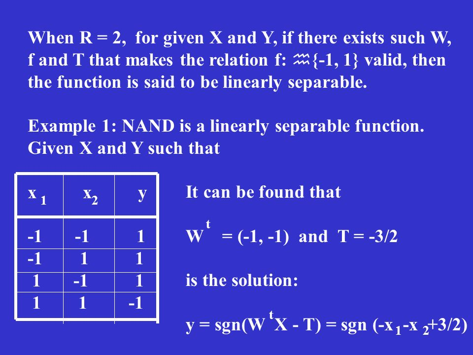 When R = 2, for given X and Y, if there exists such W, f and T that makes the relation f: {-1, 1} valid, then the function is said to be linearly sepa
