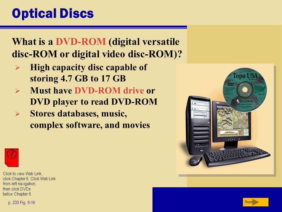 Optical Discs What is a DVD-ROM (digital versatile disc-ROM or digital video disc-ROM).