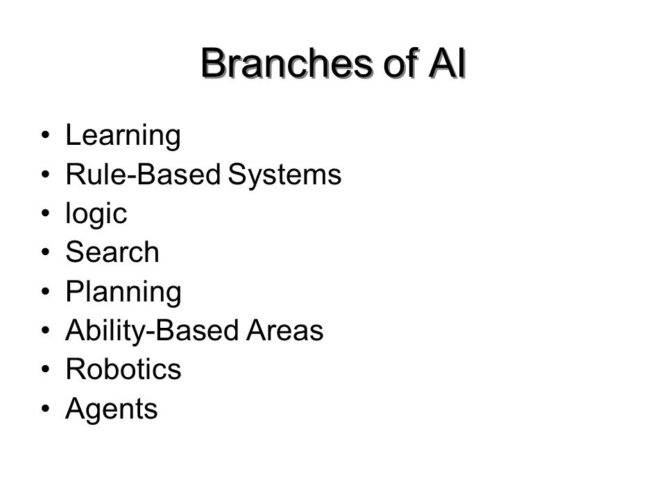 Branches of AI Learning Rule-Based Systems logic Search Planning Ability-Based Areas Robotics Agents