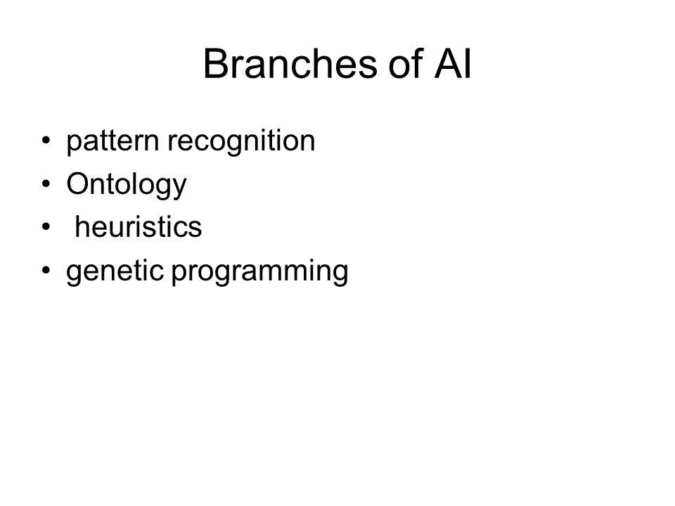 Branches of AI pattern recognition Ontology heuristics genetic programming