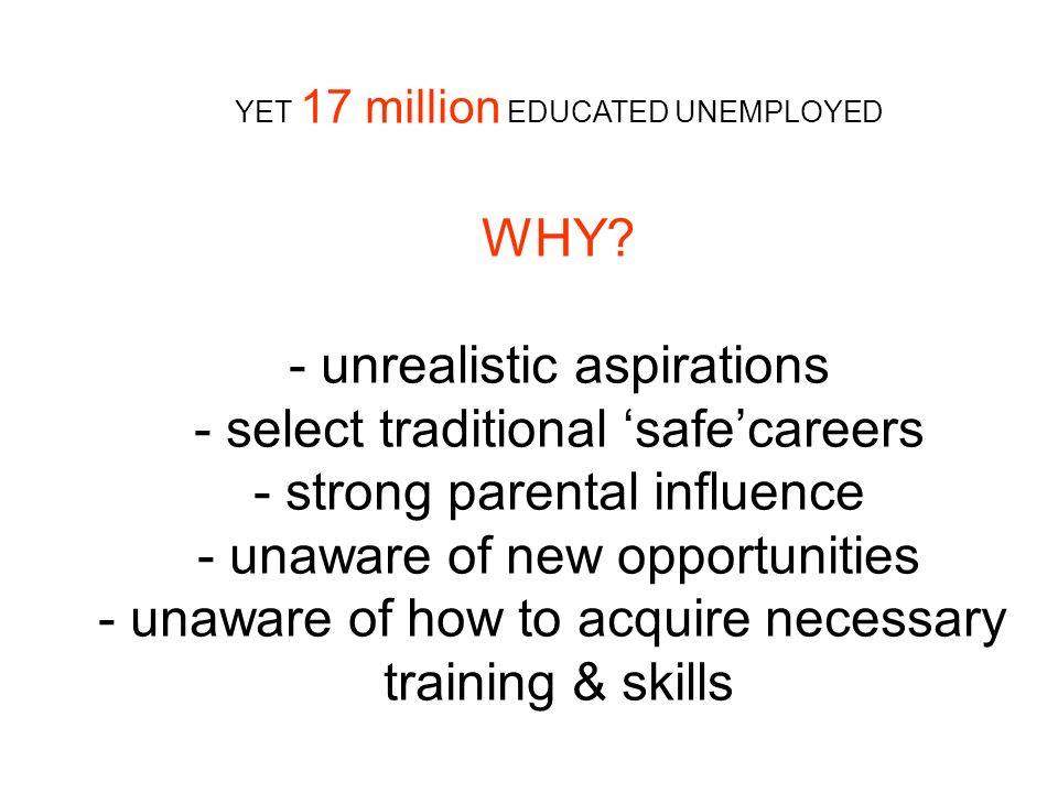 YET 17 million EDUCATED UNEMPLOYED WHY? - unrealistic aspirations - select traditional safecareers - strong parental influence - unaware of new opport