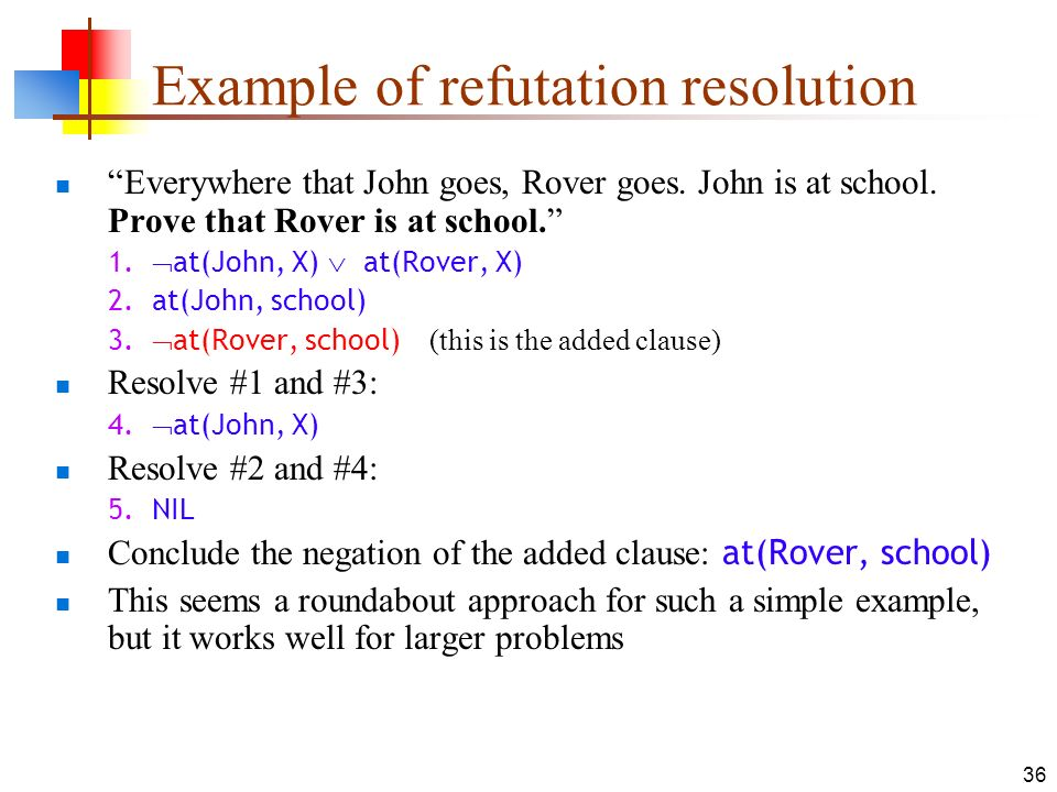 36 Example of refutation resolution Everywhere that John goes, Rover goes. John is at school. Prove that Rover is at school. 1. at(John, X) at(Rover,
