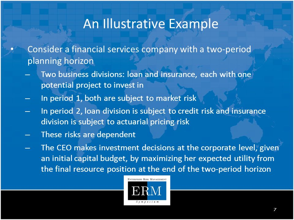 An Illustrative Example Consider a financial services company with a two-period planning horizon – Two business divisions: loan and insurance, each with one potential project to invest in – In period 1, both are subject to market risk – In period 2, loan division is subject to credit risk and insurance division is subject to actuarial pricing risk – These risks are dependent – The CEO makes investment decisions at the corporate level, given an initial capital budget, by maximizing her expected utility from the final resource position at the end of the two-period horizon 7