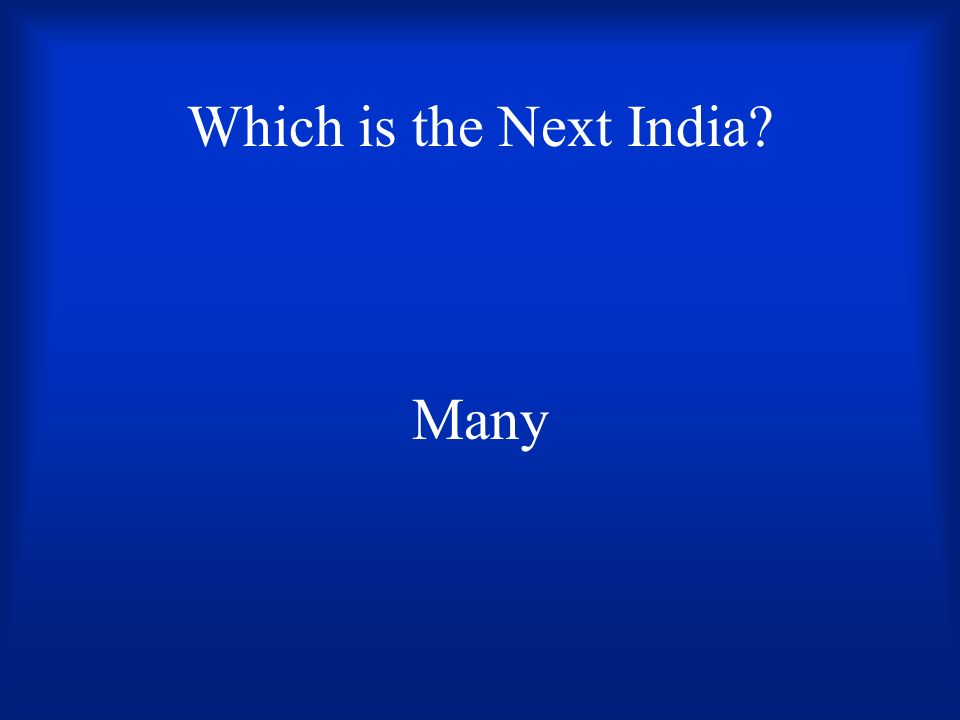 Which is the Next India? Many