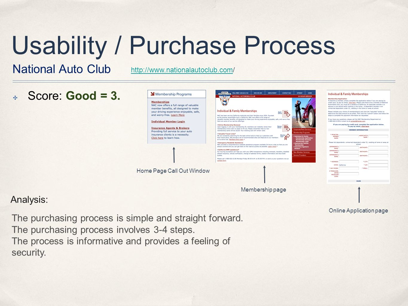 Usability / Purchase Process National Auto Club http://www.nationalautoclub.comhttp://www.nationalautoclub.com/ Score: Good = 3.