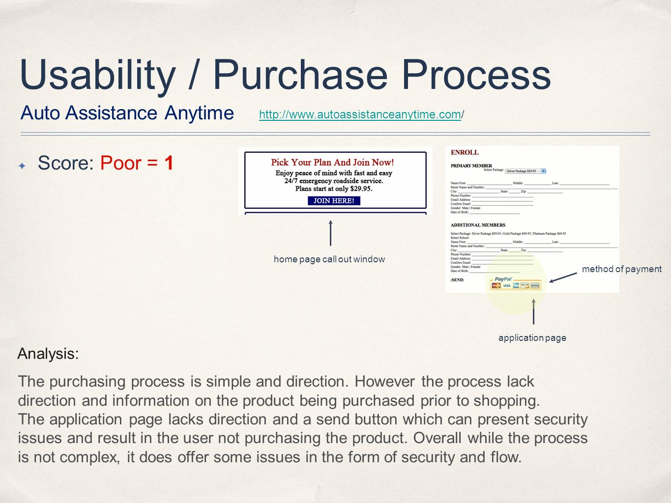 Usability / Purchase Process Analysis: The purchasing process is simple and direction.