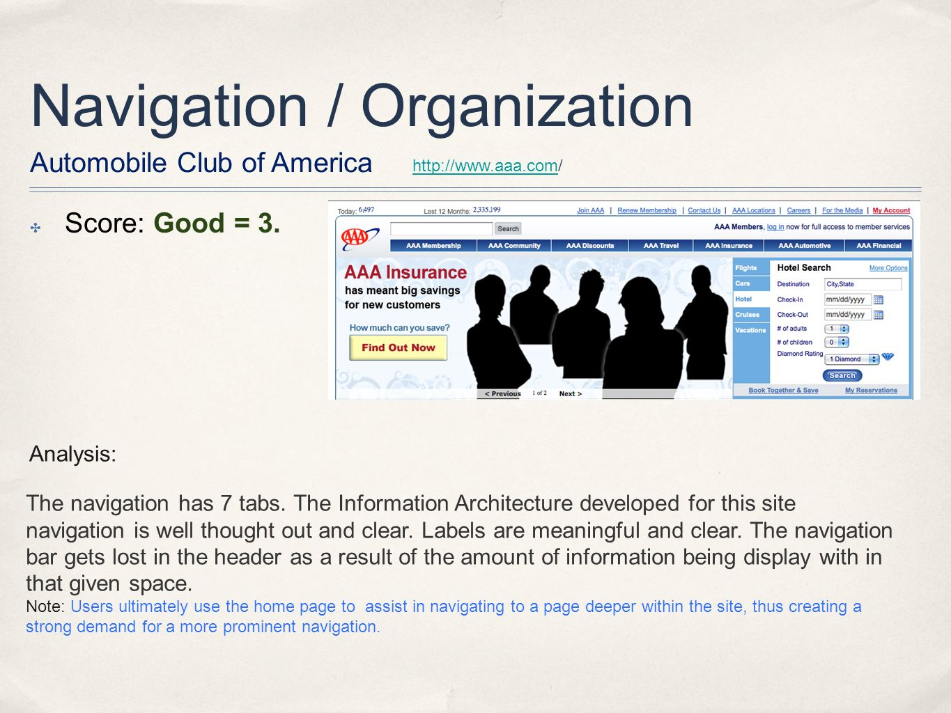 Navigation / Organization Score: Good = 3.