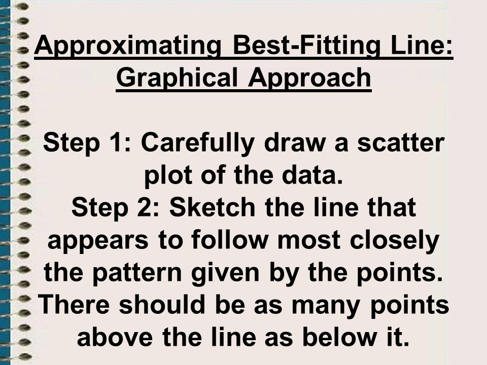 Approximating Best-Fitting Line: Graphical Approach Step 1: Carefully draw a scatter plot of the data. Step 2: Sketch the line that appears to follow