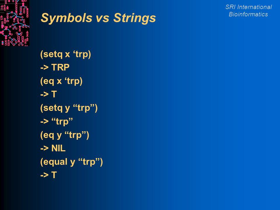 SRI International Bioinformatics Symbols vs Strings (setq x trp) -> TRP (eq x trp) -> T (setq y trp) -> trp (eq y trp) -> NIL (equal y trp) -> T