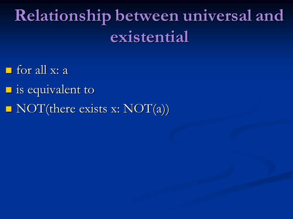 Relationship between universal and existential for all x: a for all x: a is equivalent to is equivalent to NOT(there exists x: NOT(a)) NOT(there exist