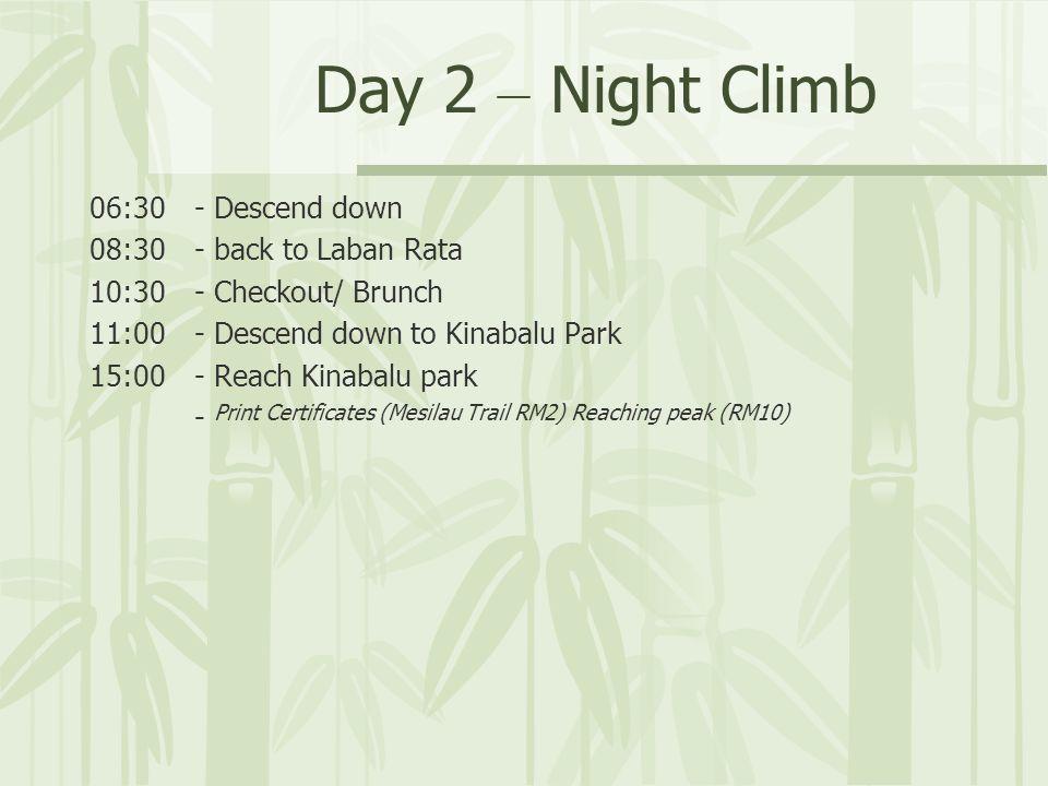 06:30- Descend down 08:30- back to Laban Rata 10:30- Checkout/ Brunch 11:00- Descend down to Kinabalu Park 15:00- Reach Kinabalu park - Print Certificates (Mesilau Trail RM2) Reaching peak (RM10)