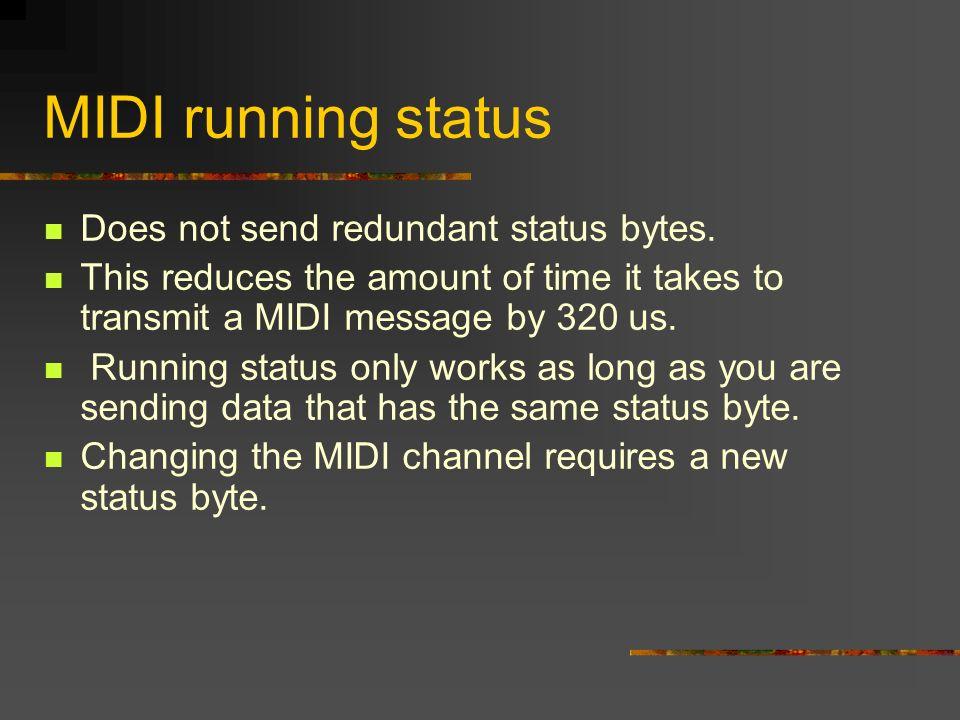 MIDI running status Does not send redundant status bytes.