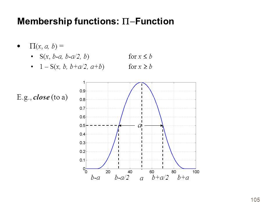105 Membership functions: Function (x, a, b) = S(x, b-a, b-a/2, b)for x b 1 – S(x, b, b+a/2, a+b)for x b E.g., close (to a) b-ab+a/2b-a/2b+a a a