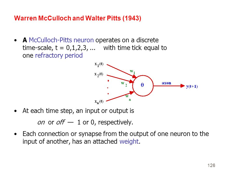 126 A McCulloch-Pitts neuron operates on a discrete time-scale, t = 0,1,2,3,... with time tick equal to one refractory period At each time step, an in