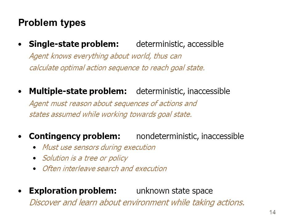 14 Problem types Single-state problem: deterministic, accessible Agent knows everything about world, thus can calculate optimal action sequence to rea