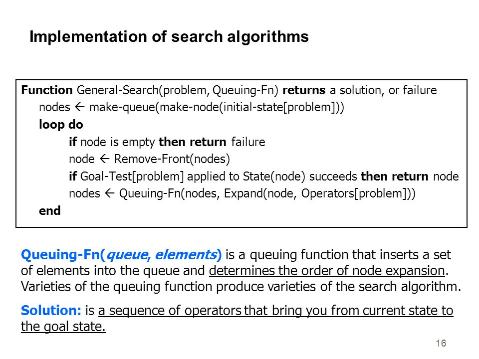 16 Implementation of search algorithms Function General-Search(problem, Queuing-Fn) returns a solution, or failure nodes make-queue(make-node(initial-