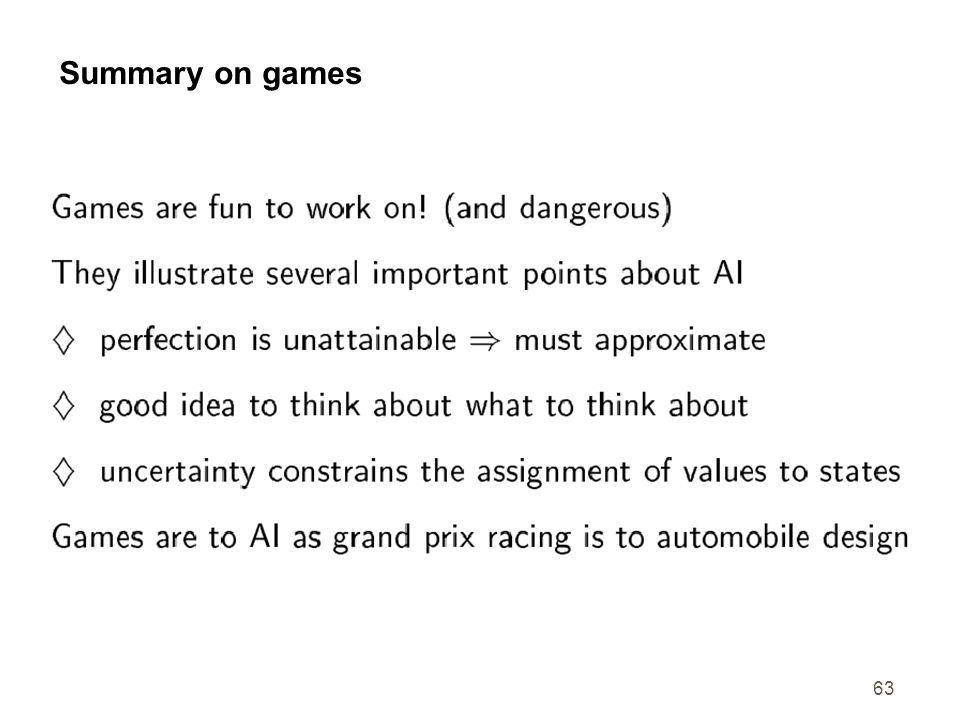 63 Summary on games