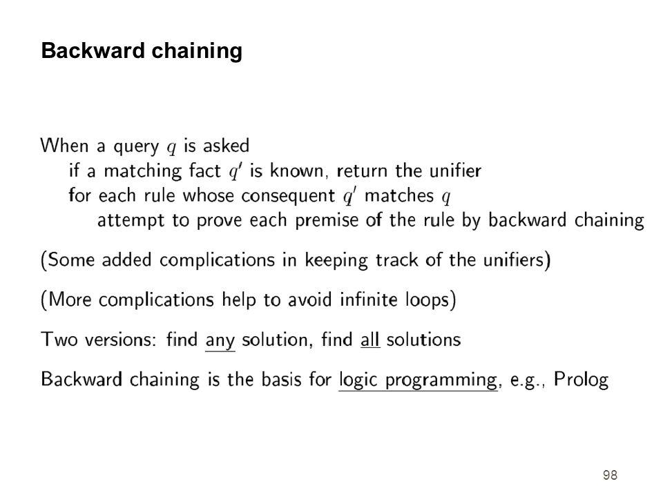 98 Backward chaining