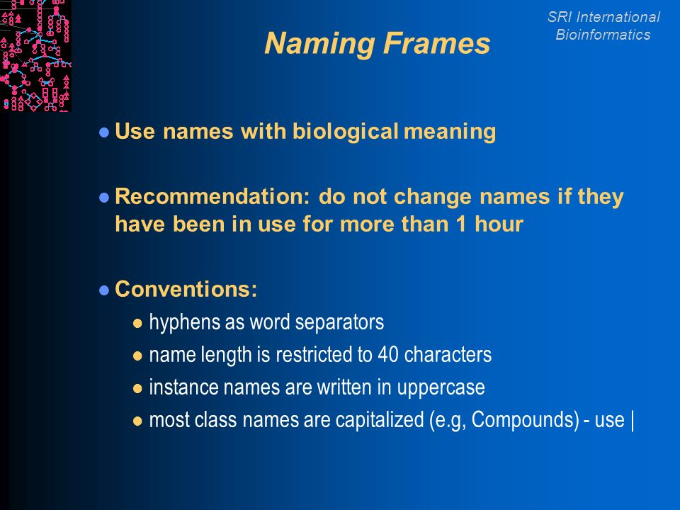 SRI International Bioinformatics Naming Frames Use names with biological meaning Recommendation: do not change names if they have been in use for more