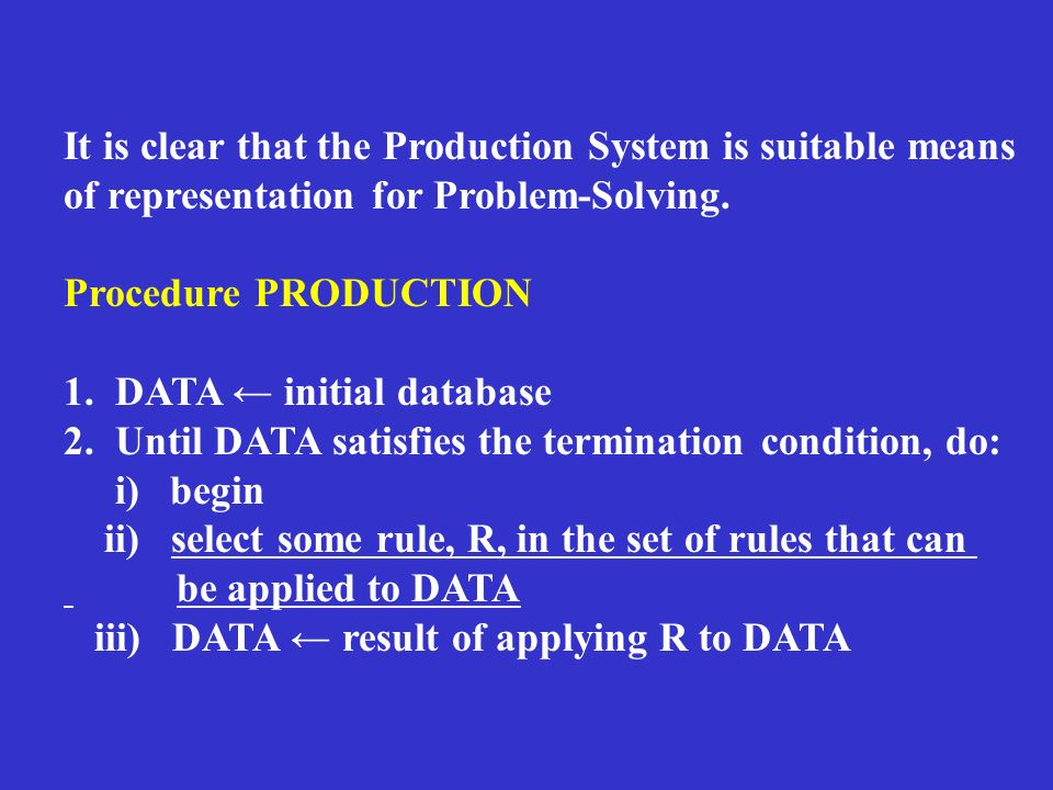 It is clear that the Production System is suitable means of representation for Problem-Solving.