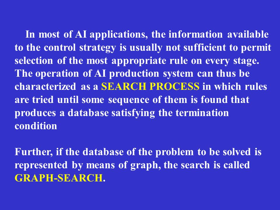 In most of AI applications, the information available to the control strategy is usually not sufficient to permit selection of the most appropriate rule on every stage.