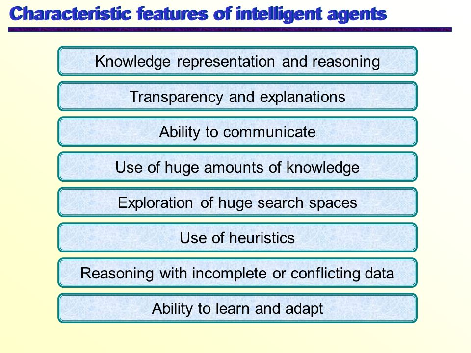 Characteristic features of intelligent agents Knowledge representation and reasoning Transparency and explanations Ability to communicate Use of huge
