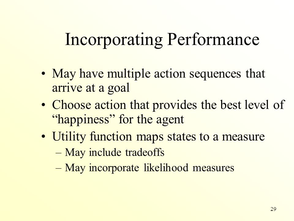 29 Incorporating Performance May have multiple action sequences that arrive at a goal Choose action that provides the best level of happiness for the