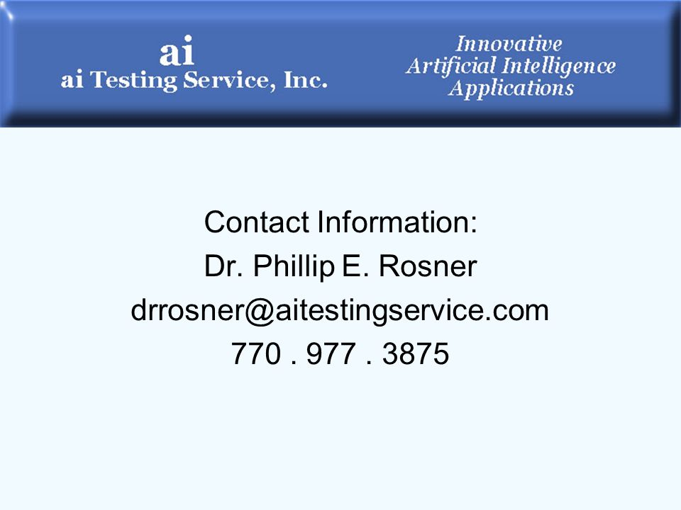 Contact Information: Dr. Phillip E. Rosner