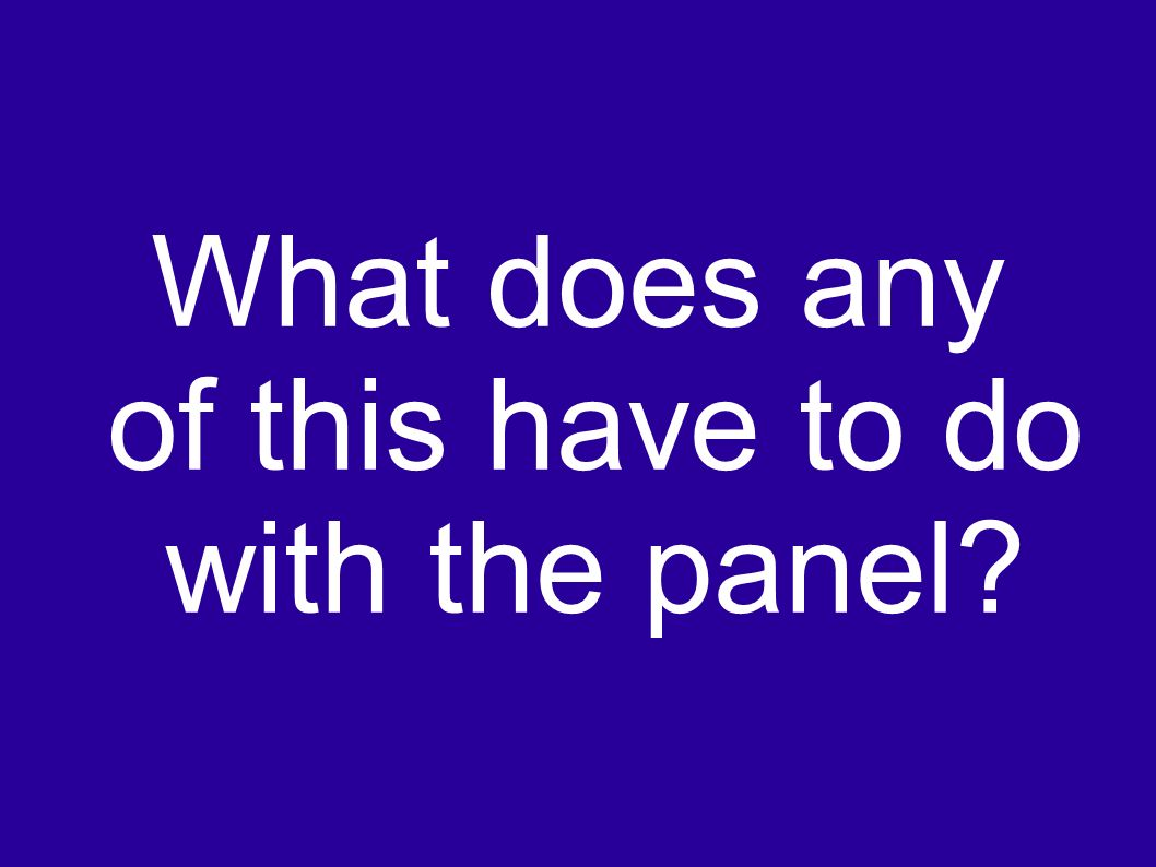What does any of this have to do with the panel?