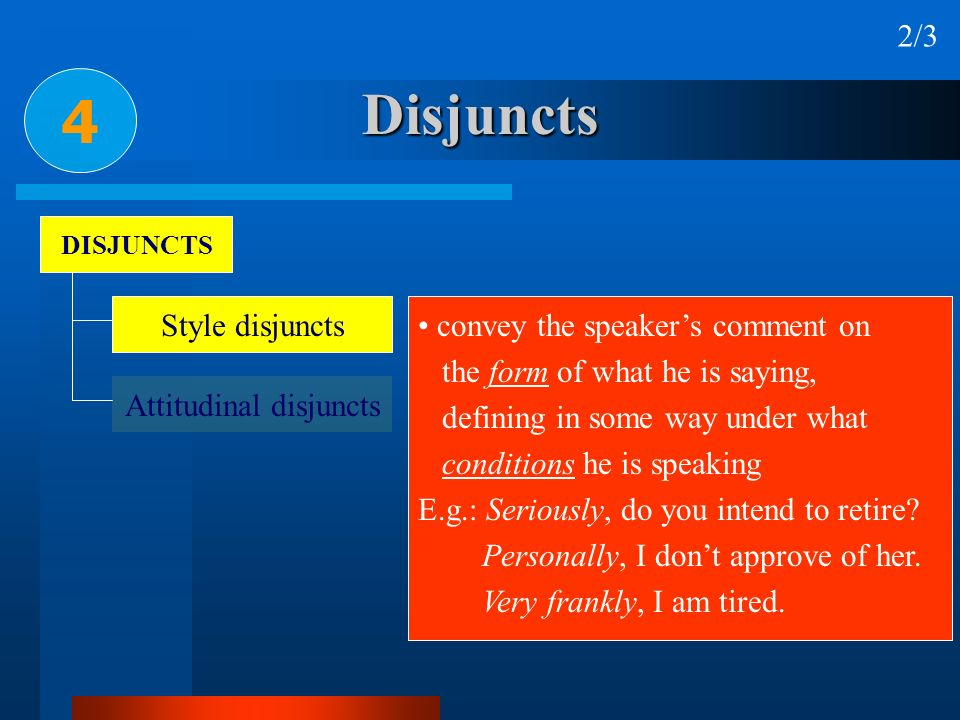 Disjuncts 4 2/3 DISJUNCTS Style disjuncts Attitudinal disjuncts convey the speakers comment on the form of what he is saying, defining in some way und