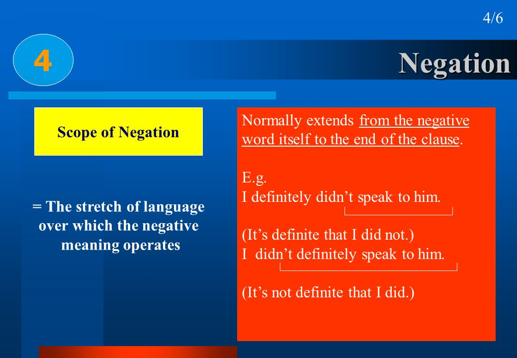 Negation 4 4/6 Scope of Negation Normally extends from the negative word itself to the end of the clause. E.g. I definitely didnt speak to him. (Its d