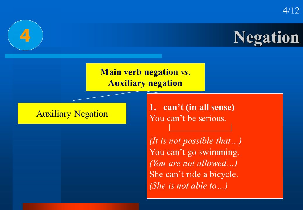 Negation 4 4/12 Main verb negation vs. Auxiliary negation Auxiliary NegationMain Verb Negation 1.cant (in all sense) You cant be serious. (It is not p