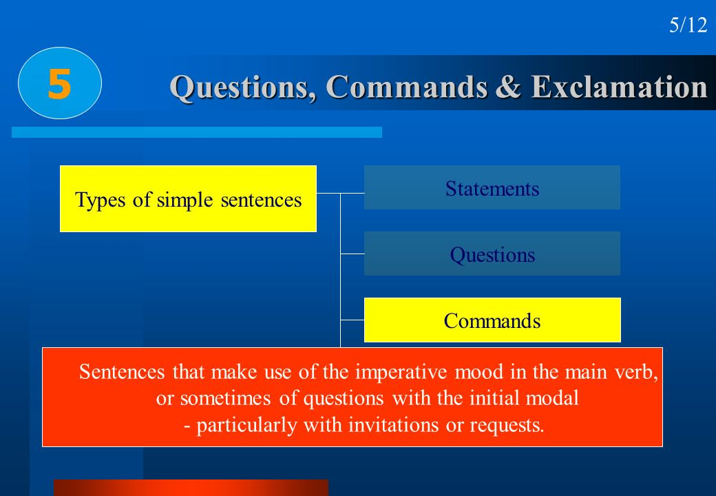Questions, Commands & Exclamation 5 5/12 Types of simple sentences Statements Questions Commands Exclamations Sentences that make use of the imperativ
