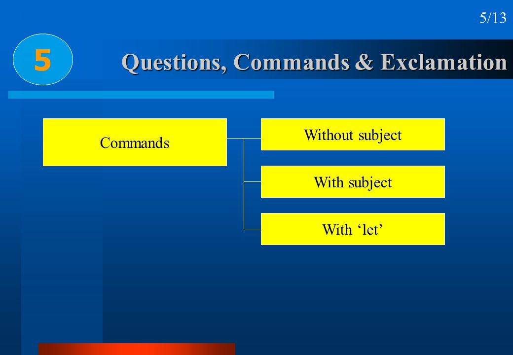 Questions, Commands & Exclamation 5 5/13 Commands Without subject With subject With let