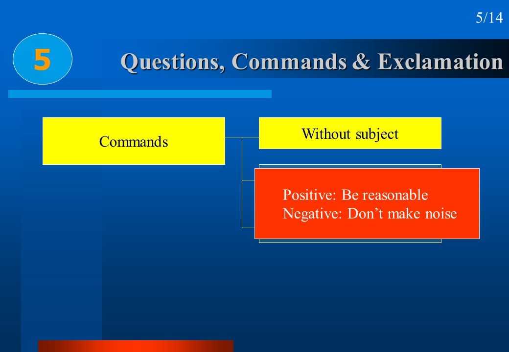 Questions, Commands & Exclamation 5 5/14 Commands Without subject With subject With let Positive: Be reasonable Negative: Dont make noise