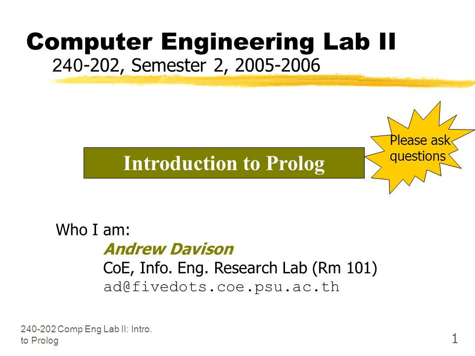 Comp Eng Lab II: Intro.