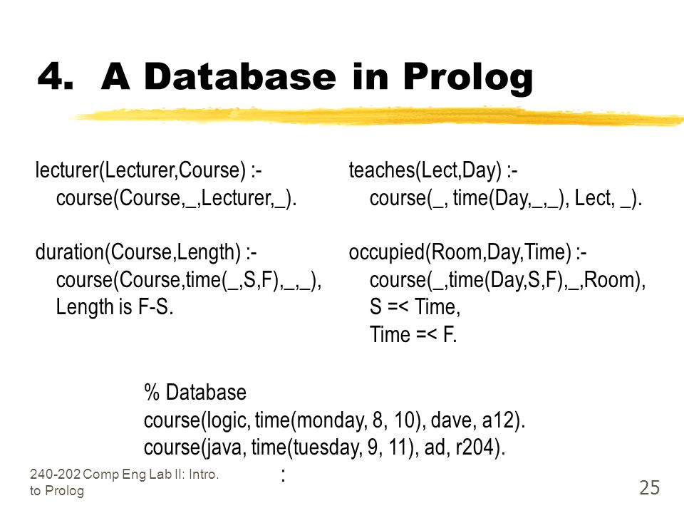 Comp Eng Lab II: Intro. to Prolog