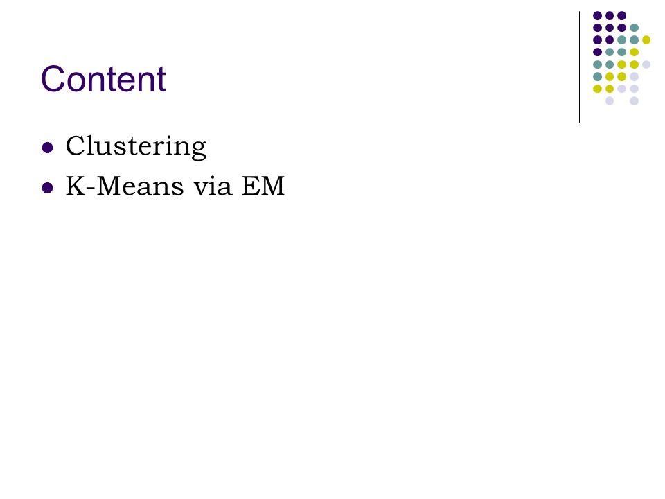 Content Clustering K-Means via EM
