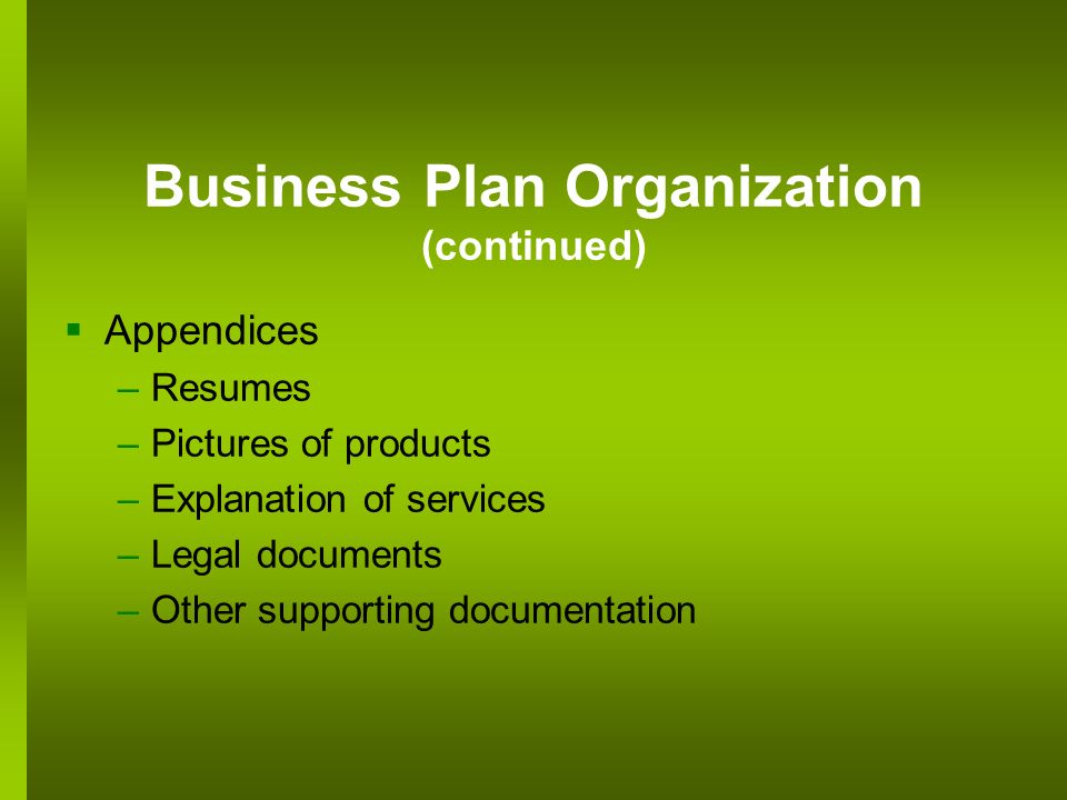 Business Plan Organization (continued) Appendices –Resumes –Pictures of products –Explanation of services –Legal documents –Other supporting documenta