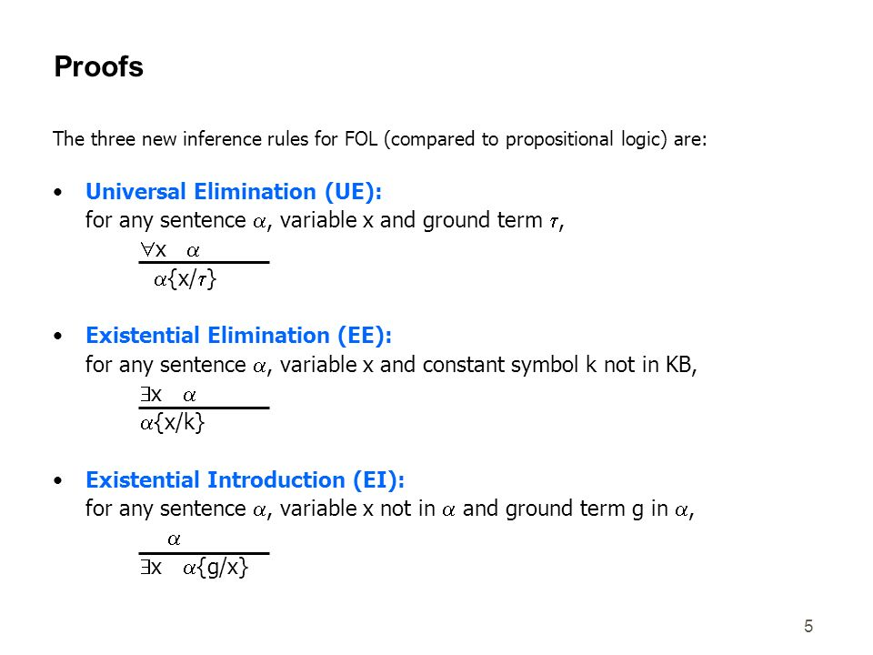 5 The three new inference rules for FOL (compared to propositional logic) are: Universal Elimination (UE): for any sentence, variable x and ground ter