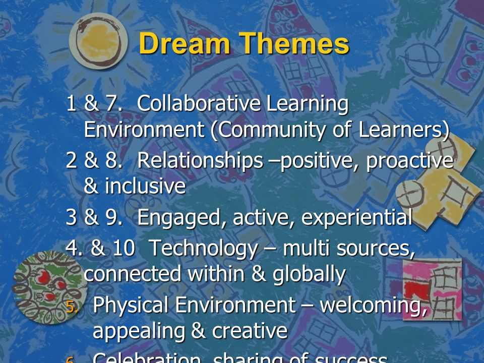 Dream Themes 1 & 7. Collaborative Learning Environment (Community of Learners) 2 & 8.